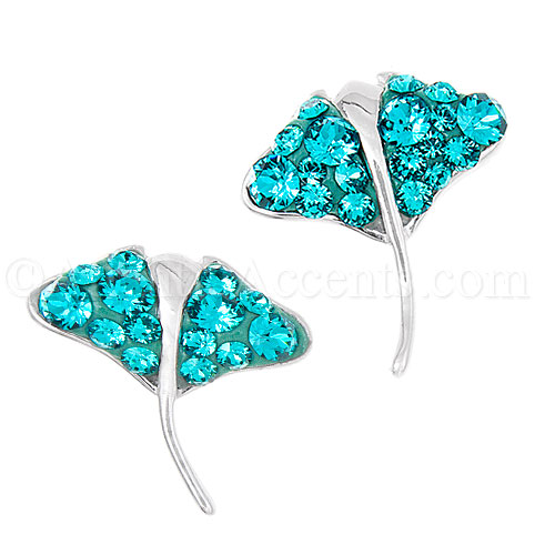 Sterling Silver Ray Post Earrings With Turquoise Swarovski Crystals