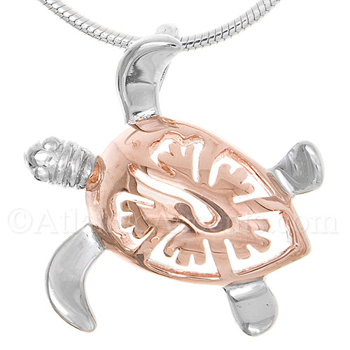Sterling Silver Rose Gold Sea Turtle Necklace Pendant