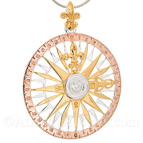 Sterling Silver 3-Tone Compass Rose Necklace Pendant