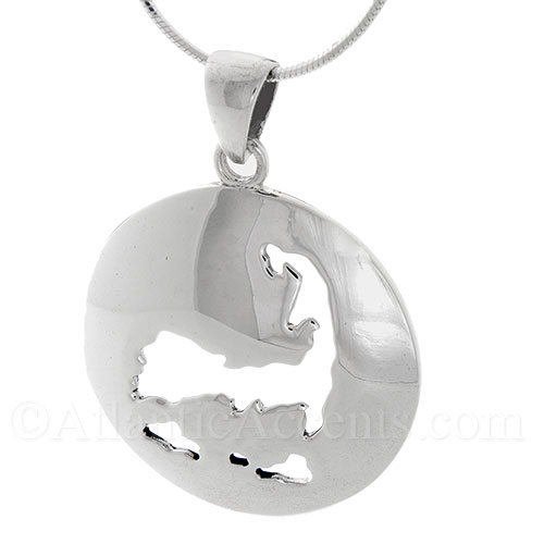 Sterling Silver Map of Cape Cod & Islands Circle Necklace Pendant
