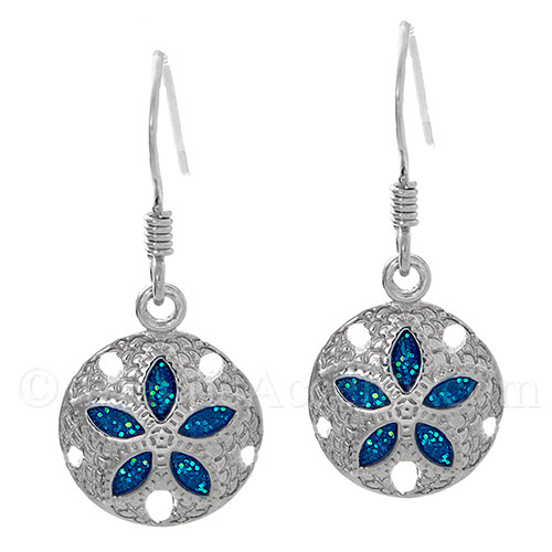 Sterling Silver Sand Dollar Dangle Earrings With Blue Enamel - Click Image to Close