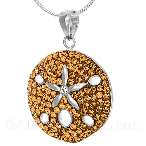 Sterling Silver Sand Dollar Necklace Pendant with Swarovski Crystals