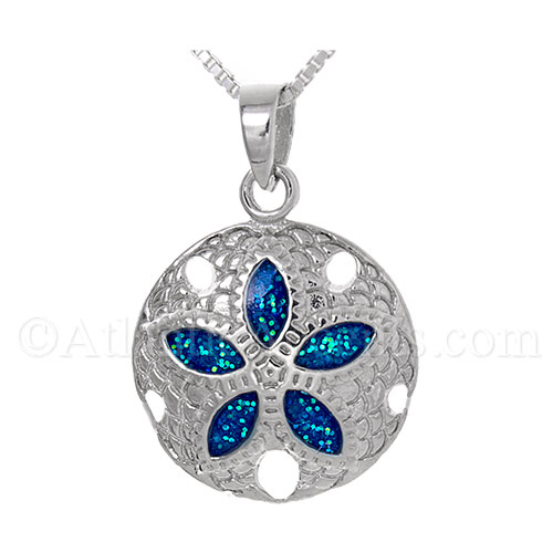 Sterling Silver Sand Dollar Necklace with Irriedescent Blue Enamel