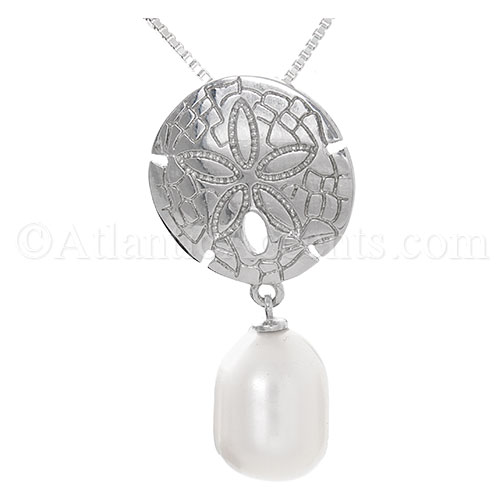 Sterling Silver Sand Dollar with Freshwater Pearl Necklace Pendant