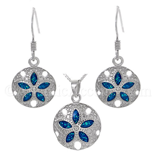 Sterling Silver Sand Dollar Necklace and Earrings Set with Blue Enamel
