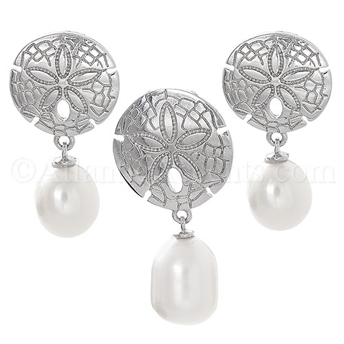 Sterling Silver Sand Dollar Freshwater Pearl Necklace and Earrings Set
