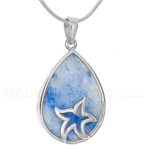 Sterling Silver Starfish on Ocean Blue Aventurine Pendant