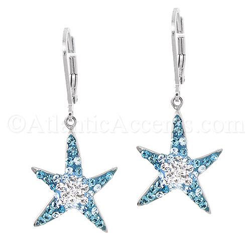 Sterling Silver Starfish Leverback Earrings with Swarovski Crystals