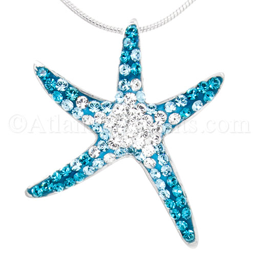 4995 sterling silver starfish pendant with gradient blue sterling silver starfish pendant with gradient blue swarovski crystals aloadofball Image collections