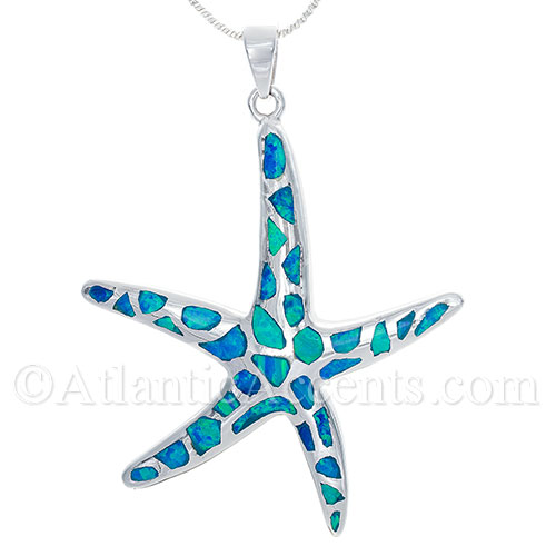 Large Silver Starfish Pendant with Blue Inlay