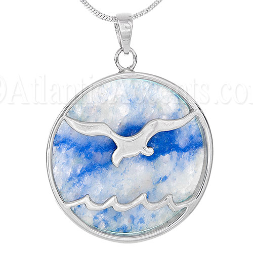 Sterling Silver Aventurine Sea Gull Ocean Wave Pendant Necklace