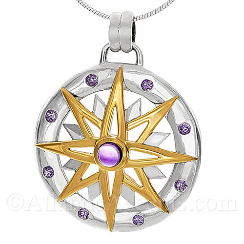 Sterling Silver Compass Rose Pendant with 14K Gold Accents & Amethyst