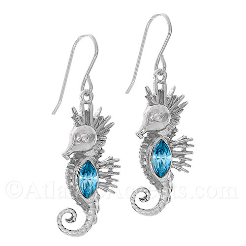 Sterling Silver Sea Horse Dangle Earrings with Blue Swarovski Body