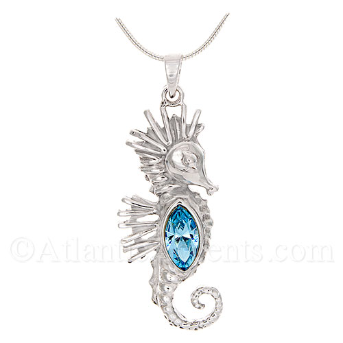 Sterling Silver Sea Horse Necklace Pendant with Blue Swarovski Body