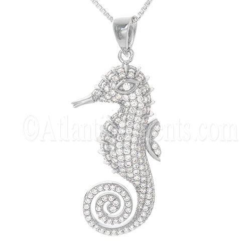 Sterling Silver Seahorse Necklace Pendant with Clear Crystal Inlay