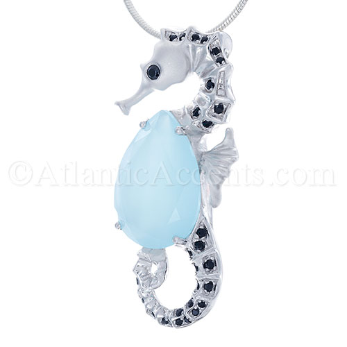 Sterling Silver Sea Horse Necklace Pendant with Blue Jade Body