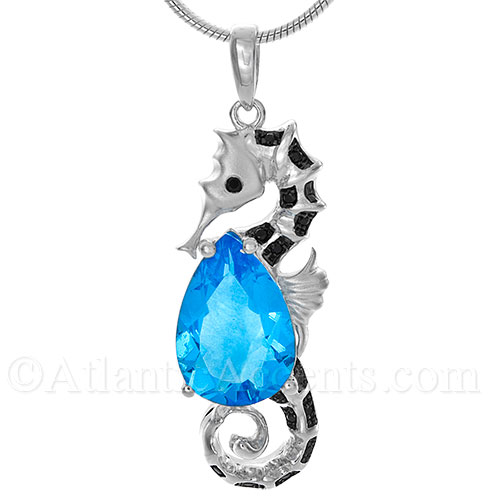 Sterling Silver Seahorse Necklace Pendant with Topaz Stone & Black CZ