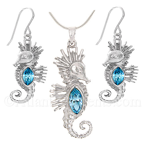 Sterling Silver Sea Horse Necklace & Earrings with Blue Swarovski Body