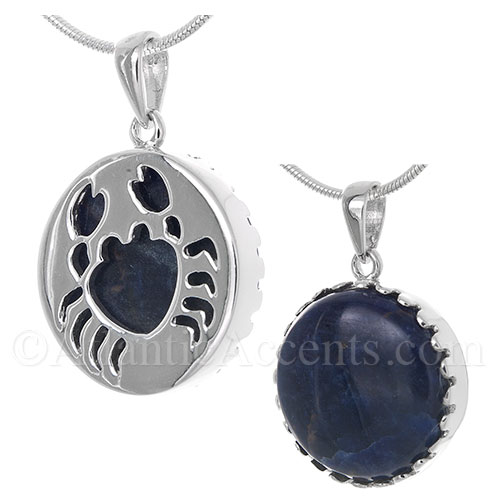 Sterling Silver Crab Pendant Cut Out Mounted over a Sodalite Gemstone