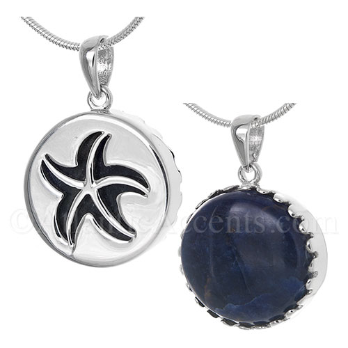 Sterling Silver Starfish Pendant Cut Out Over a Sodalite Gemstone