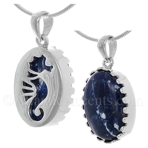 Sterling Silver Sea Horse Pendant Cut Out Over a Sodalite Gemstone