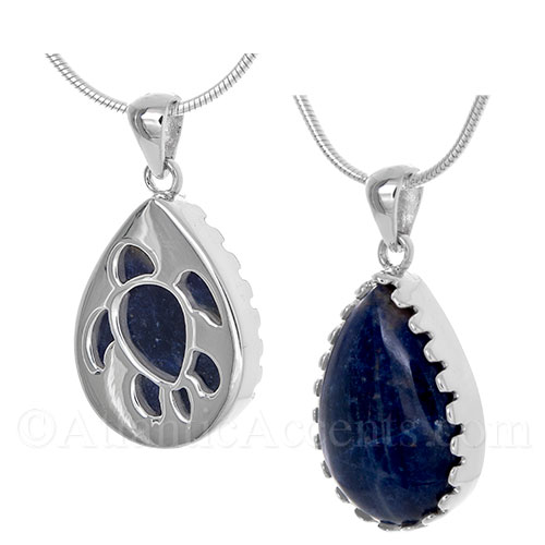 Sterling Silver Sea Turtle Pendant Cut Out Over a Sodalite Gemstone - Click Image to Close