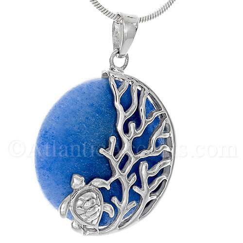 Sterling Silver Sea Turtle on Coral Pendant on Blue Aventurine Crystal