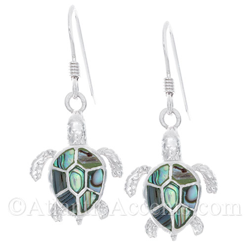 Sterling Silver Sea Turtle Dangle Earrings with Paua Shell Inlay