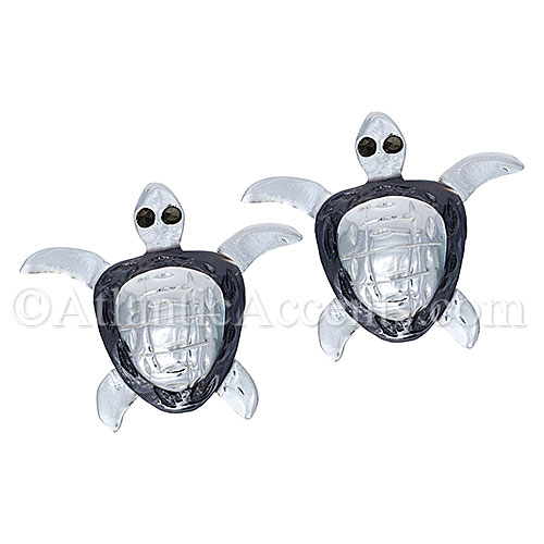 Sterling Silver Sea Turtle Post Earrings with Black Accents