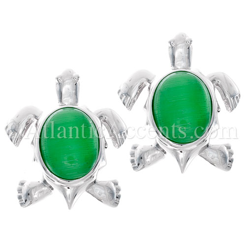 Sterling Silver Sea Turtle Post Earrings on Green Cateye