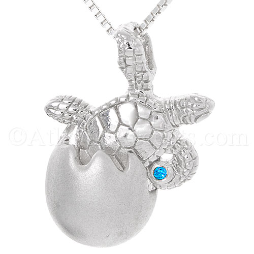 Sterling Silver Sea Turtle Hatchling Necklace Pendant