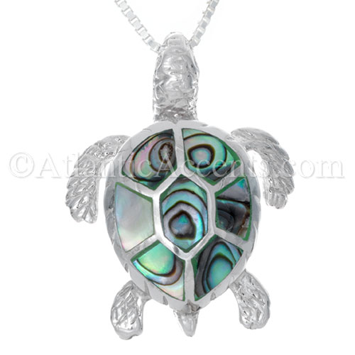 Sterling Silver Sea Turtle Necklace Pendant with Paua Shell Inlay