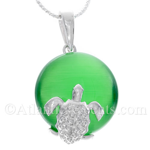Sterling Silver Sea Turtle Necklace Pendant on Green Cateye