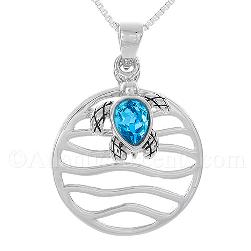 Sterling Silver Ocean Wave with Swarovski Sea Turtle Dangle Pendant