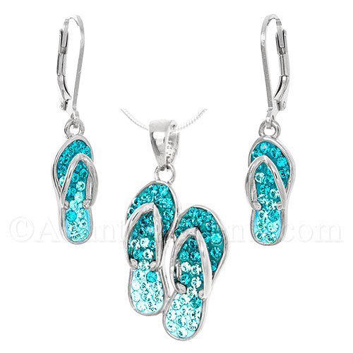 Sterling Silver Pair of Flip Flops Necklace & Earrings Set - Crystals