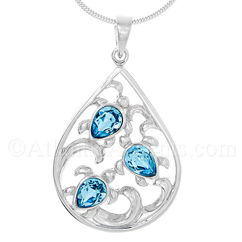 Sterling Silver Triple Sea Turtles in Waves Pendant W/ Blue Swarovski