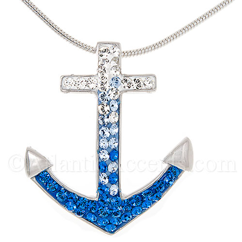 Sterling Silver Anchor Pendant with Multicolor Swarovski Crystals