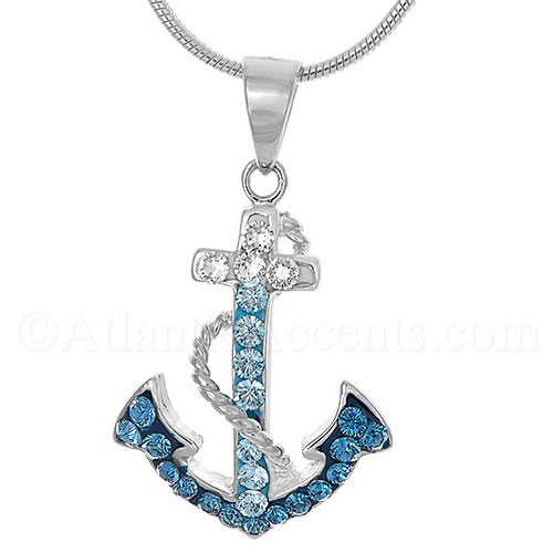 Sterling Silver Anchor with Rope Pendant - Multi Swarovski Crystals