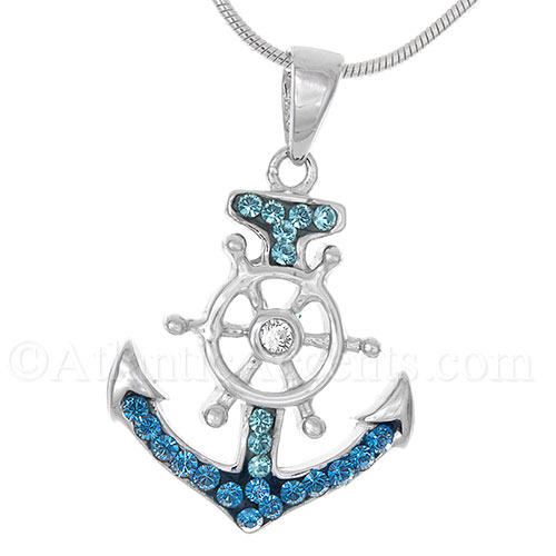 Sterling Silver Anchor with Ships Wheel Pendant - Multicolor Crystal