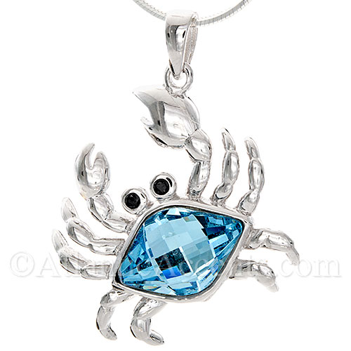 Sterling Silver Crab Necklace Pendant with Blue Swarovski Crystal Body