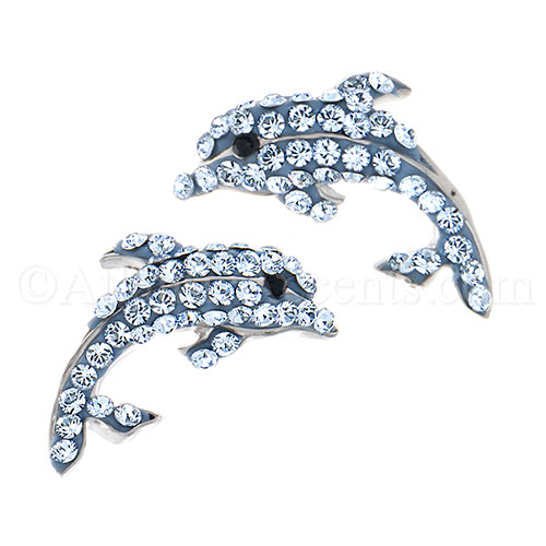 Sterling Silver Dolphin Post Earrings with Blue Swarovski Crystals