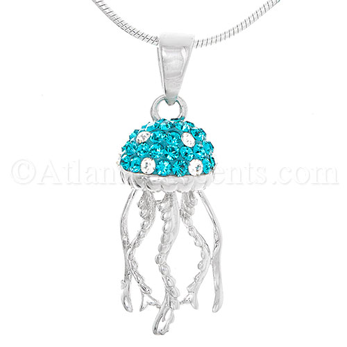 Sterling Silver Jelly Fish Pendant with Aqua Swarovski Crystal Inlay