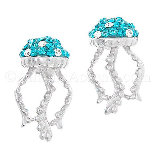 Sterling Silver Jelly Fish Post Earrings with Aqua Blue Swarovski