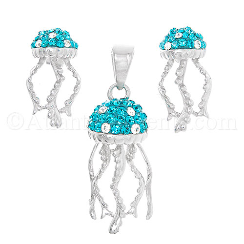 Sterling Silver Jellyfish Pendant and Earrings Set with Aqua Swarovski