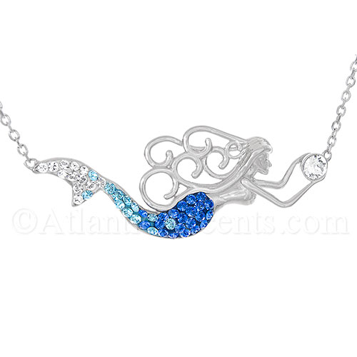 Sterling Silver Swimming Mermaid Necklace with Swarovski Crystal