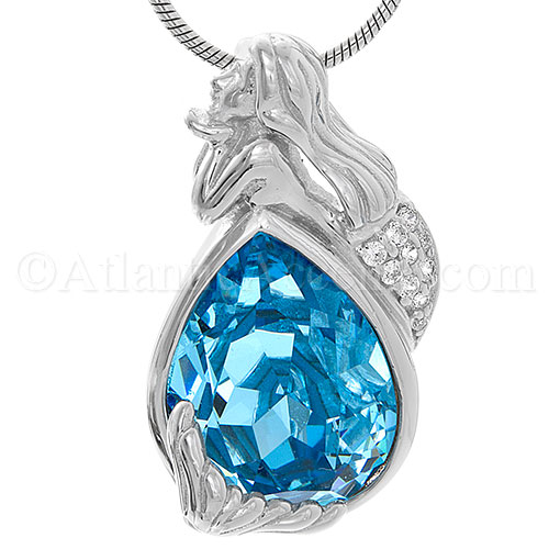 Sterling Silver Mermaid Necklace Pendant with Ocean Blue Swarovski