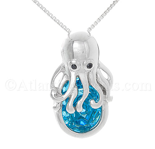 Sterling Silver Octopus Pendant with Ocean Blue Swarovski Crystal