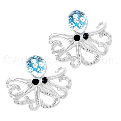 Sterling Silver Octopus Post Earrings w Swarovski Inlay & Black Eyes