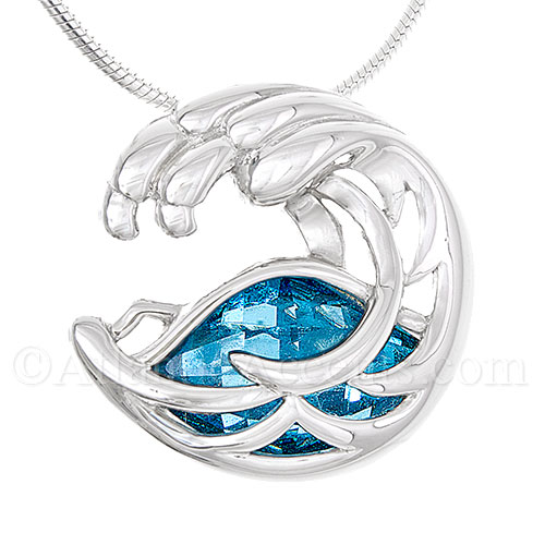 Sterling Silver Ocean Wave Pendant with Ocean Blue Swarovski Crystal