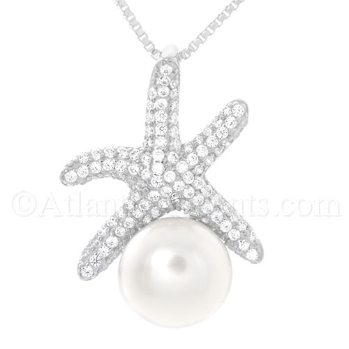 Sterling Silver Clear CZ Starfish with Freshwater Pearl Pendant